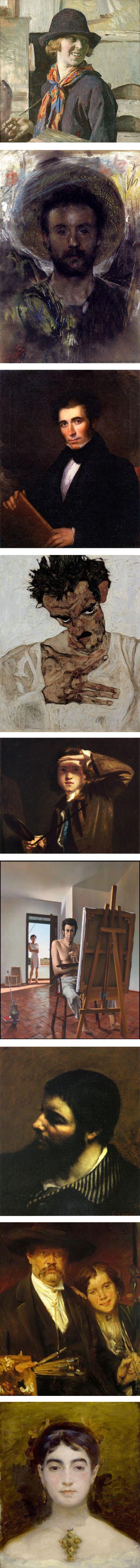 Self portraits: Ivan Shishkin, Laura Johnson Knight, Antonio Mancini, Asher B. Durand, Egon Schiele, Joshua Reynolds,  Jose Manuel Capuletti, Gustave Courbet, Lovis Corinth, Marie Bracquemond