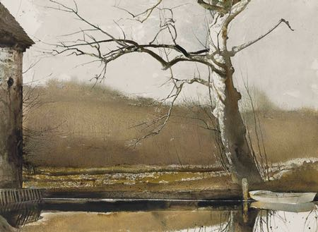 Flat Boat, Andrew Wyeth, watercolor and drybrush