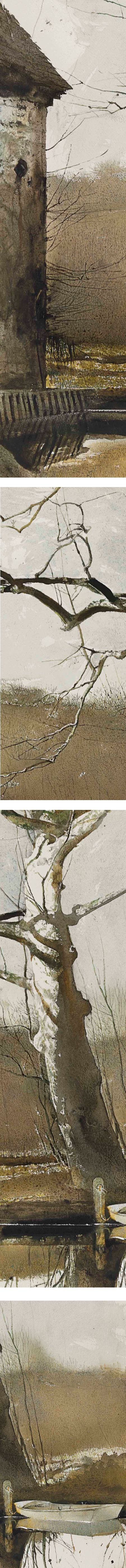 Flat Boat, Andrew Wyeth, watercolor and drybrush, details