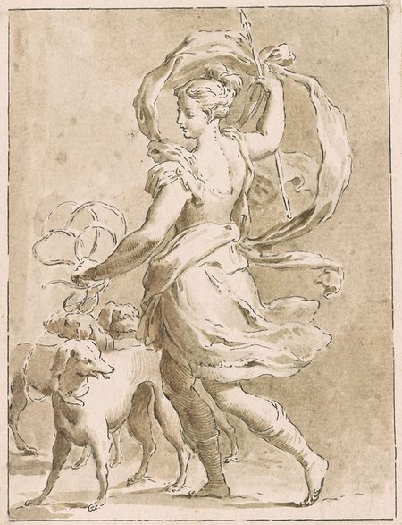 Francesco Novelli, Diana and Her Hounds, ink and wash drawing