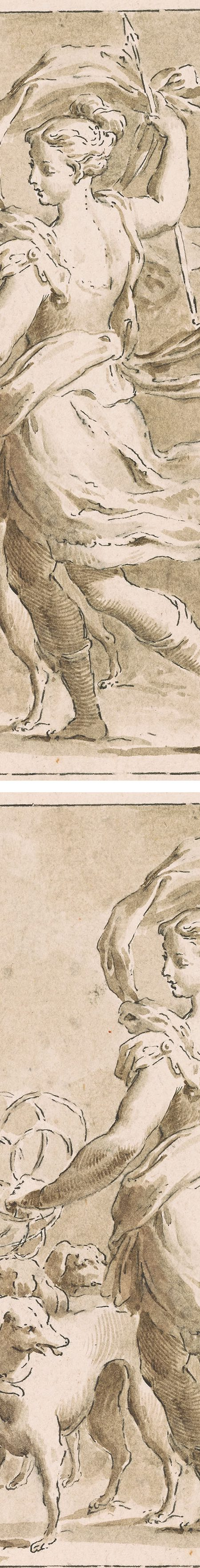 Frencesco Novelli, Diana and Her Hounds, ink and wash drawing (details)