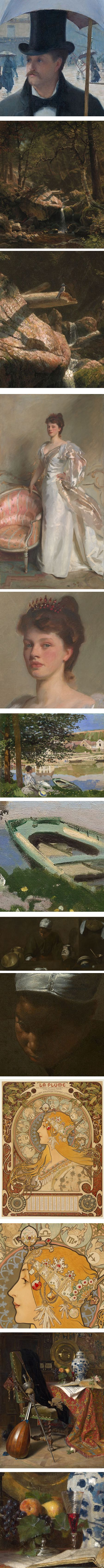 Art Institute of Chicago high-res art images, Gustave Caillebotte, Albert Bierstadt, John SInger Sargent, Claude Monet, Diego Velasquez, Alfons Mucha, Charles Gifford Dye
