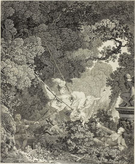 The Happy Accident of the Swing, Nicolas Delaunay, engraving after Fragonard