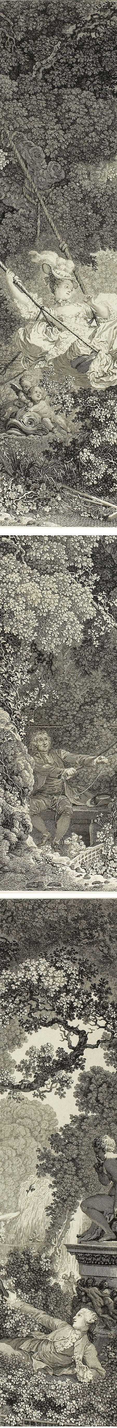 The Happy Accident of the Swing, Nicolas Delaunay, engraving after Fragonard (details)