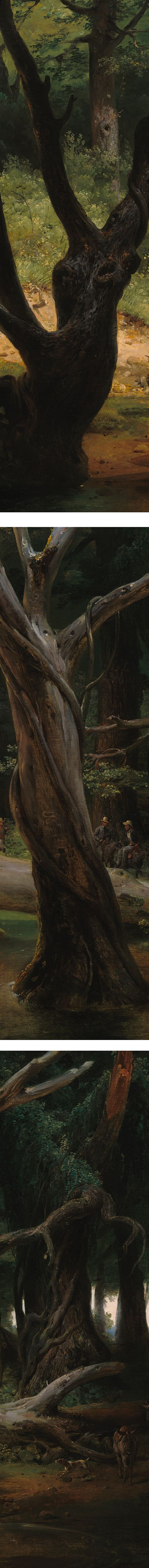 Departure for the Hunt in the Pontine Marshes, Horace Vernet, oil on canvas, 1833  (details)