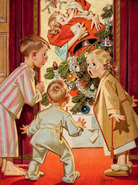 Mommy Kissing Santa Claus, Cover illustration for American Weekly, December 19, 1948; J.C. Leyendecker