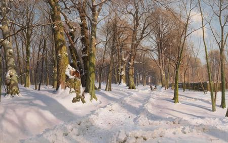Snowy Forest Road in Sunlight, Peder Mork Monsted