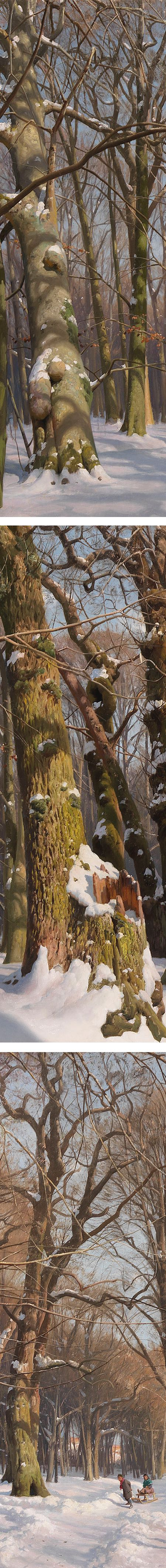 Snowy Forest Road in Sunlight, Peder Mork Monsted, details