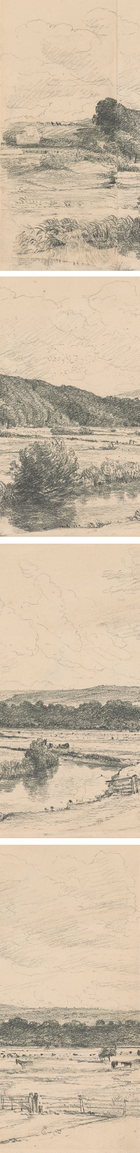View of Cat Hanger, John Constable landscape pencil drawing