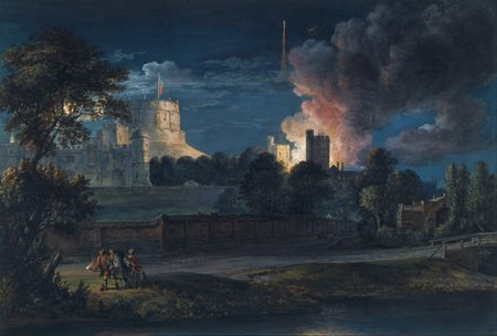 Windsor Castle from Drachet Lane on a rejoicing night, gouache on paper by Paul Sandby
