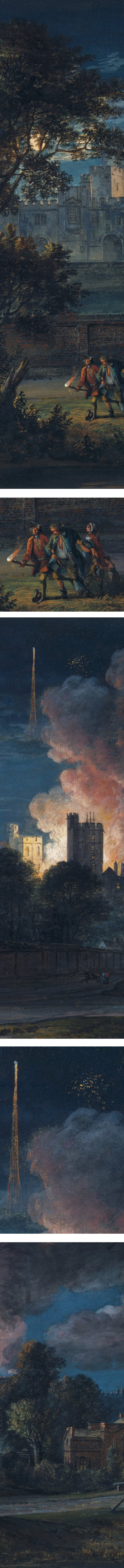 Windsor Castle from Drachet Lane on a rejoicing night, gouache on paper by Paul Sandby (details)