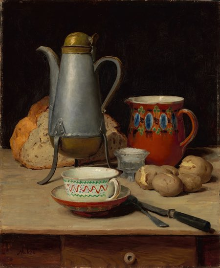 Albert Anker - Stilleben, Kaffee und Kartoffeln, Still life with Coffee and Poratoes