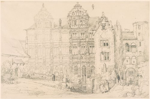 The Castle at Heidelberg, Samuel Prout pencil drawing