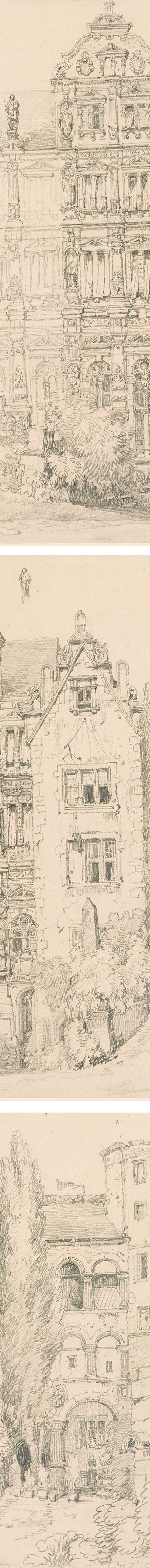 The Castle at Heidelberg, Samuel Prout pencil drawing (details)