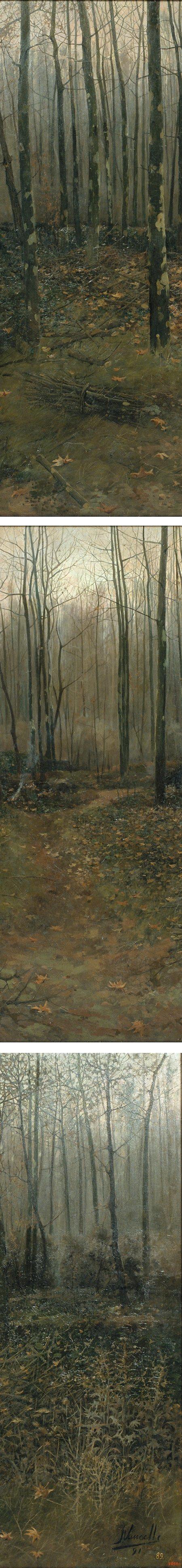 February, Joaquim Vancells, landscape painting, details