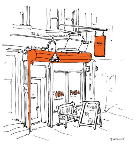 John Donohue's All the Restaurants in New York, pen and ink sketches