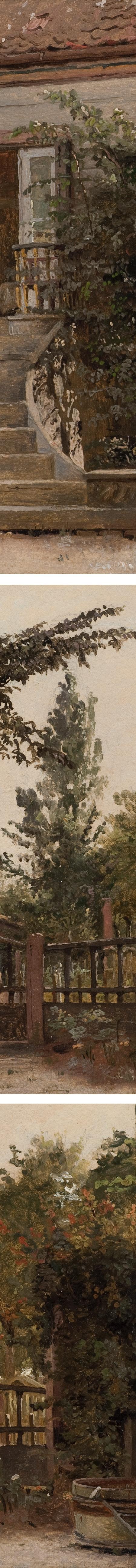 The Garden Steps Leading to the Artist's Studio on Blegdammen, Christen Købke, oil painting on paper (details)