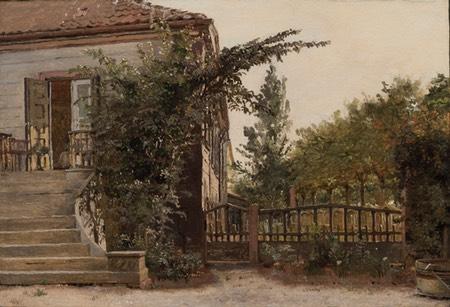 The Garden Steps Leading to the Artist's Studio on Blegdammen, Christen Kobke, oil painting on paper