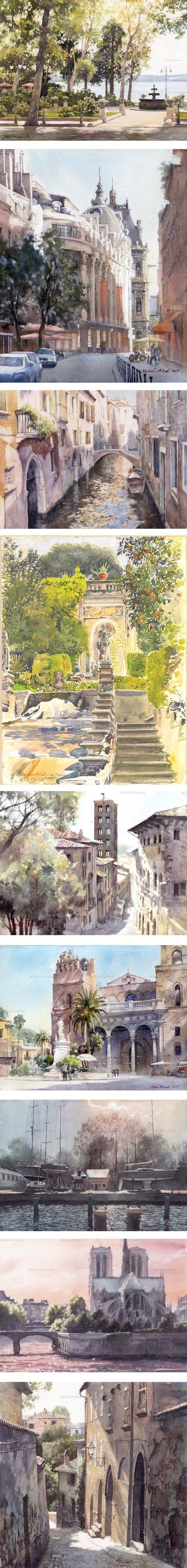 Michal Orlowski, watercolors