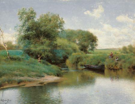 Boating on the River, Emilio Sanchez Perrier, landscape painting