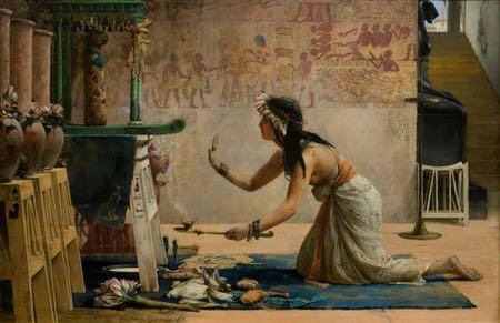 The Obsequies of an Egyptian Cat, John Reinhard Weguelin, 19th century Victorian painting