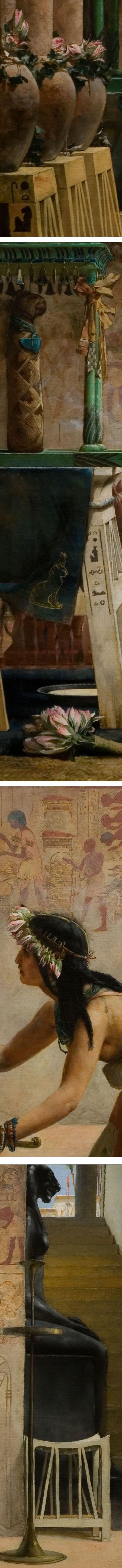 The Obsequies of an Egyptian Cat, John Reinhard Weguelin, 19th century Victorian painting (details)
