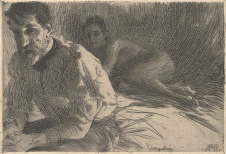 Augustus Saint Gaudens II (Saint Gaudens and his Model), Anders Zorn, etching