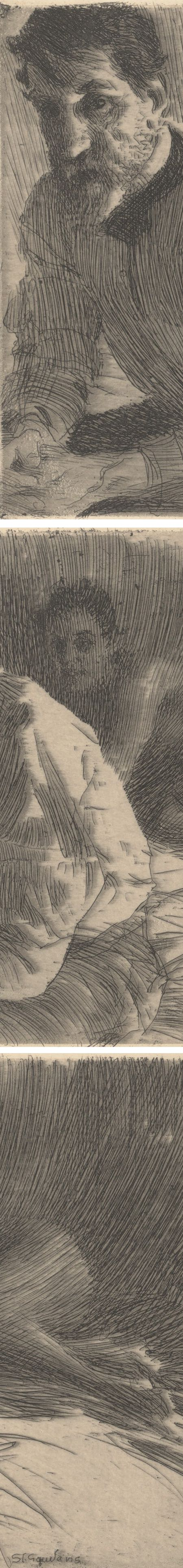 Augustus Saint Gaudens II (Saint Gaudens and his Model), Anders Zorn, etching (details)