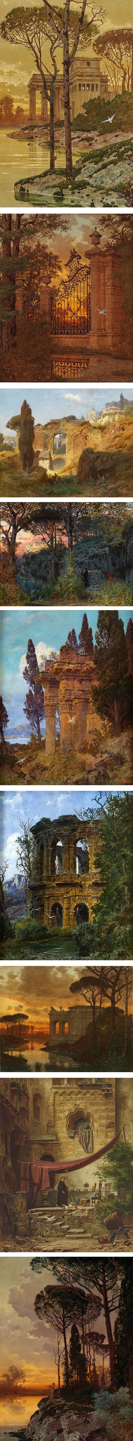 Ferdinand Knab, 19th century romanticised paintings of classical ruins in landscape