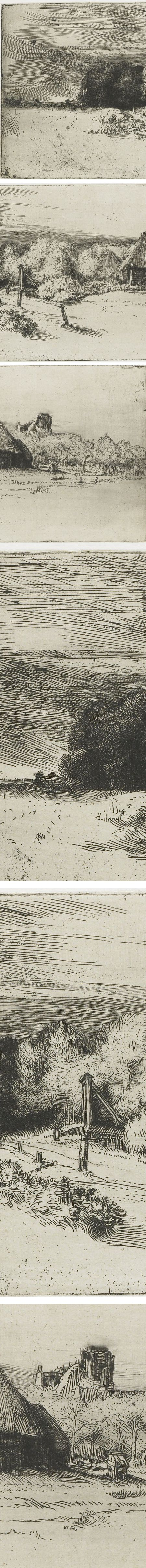 View of some houses with trees and a tower, etching and drypoint (details) Rembrandt van Rijn