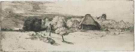 View of some houses with trees and a tower, etching and drypoint, Rembrandt van Rijn