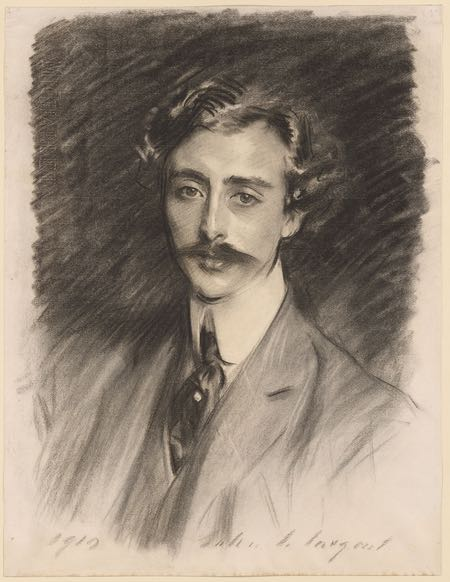 Portrait of Ernest Schelling. John Singer Sargent, charcoal on paper