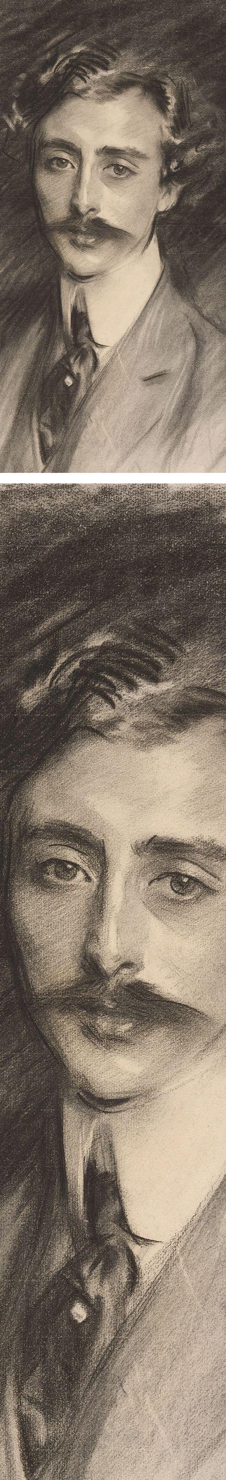 Portrait of Ernest Schelling. John Singer Sargent, charcoal on paper (details)