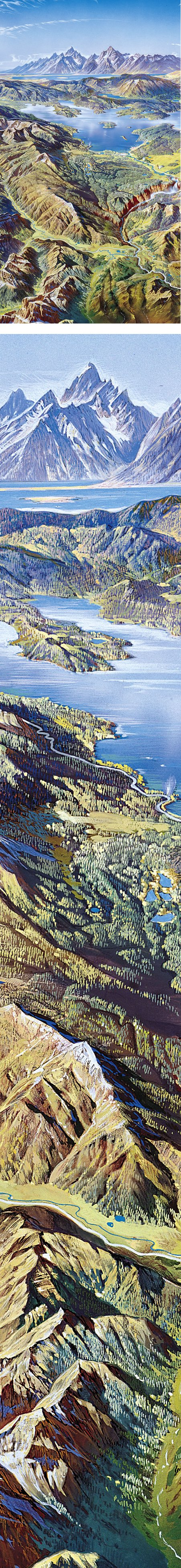Heinrich Berann's panoramic map paintings of US national parks