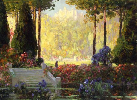 Thomas Edwin Mostyn, 19th and 20th century paintings, idyllic gardens