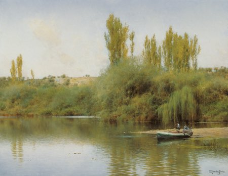 On the Banks of the Guadaíra with a boat, Emilio Sanchez-Perrier, 19th century landscape oil painting