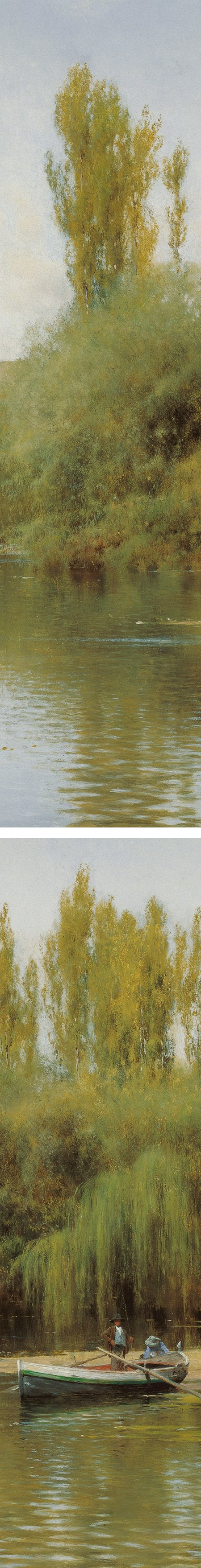 On the Banks of the Guadaíra with a boat, Emilio Sanchez-Perrier, (details)