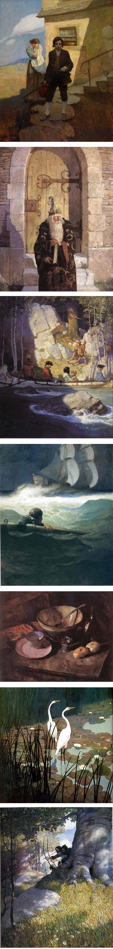 N. C. Wyeth illustrations and landscape paintings