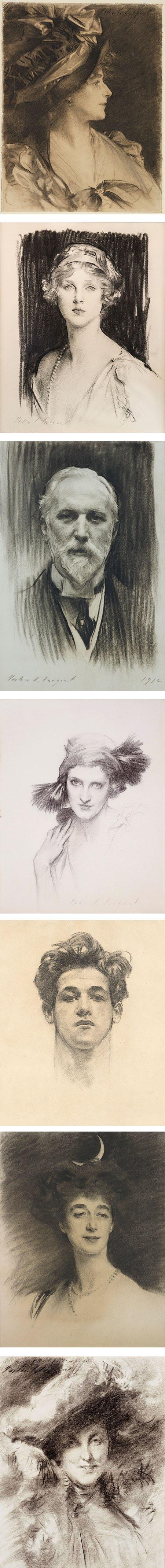 John Singer Sargent charcoal portrait drawings