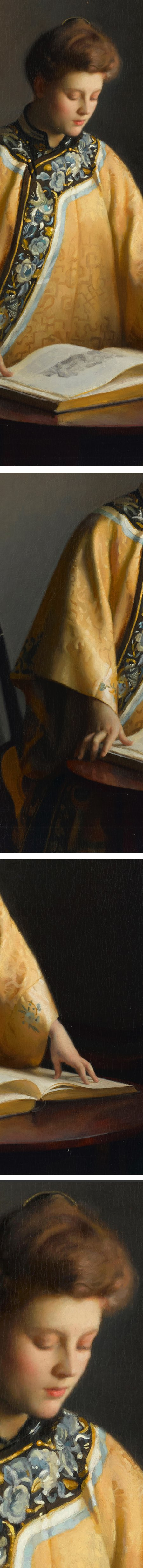The Yellow Jacket, William McGregor Paxton, oil on canvas (details)