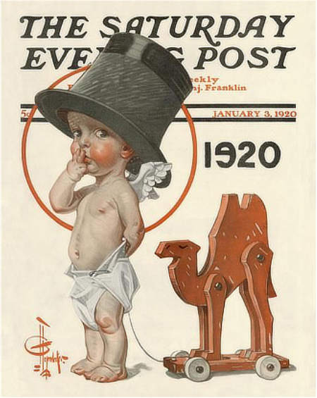 JC Leyendeckers Saturday Evening Post New Years Baby cover for 1920