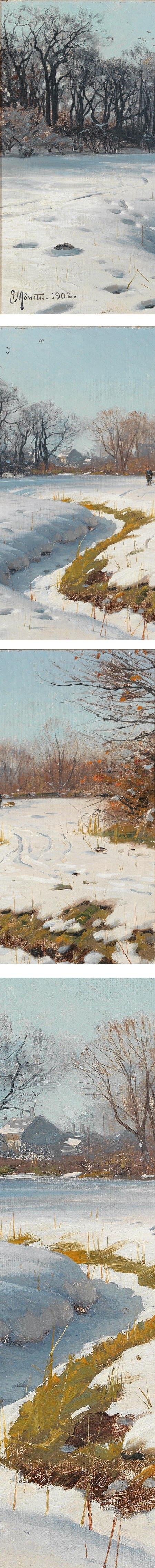 Peder Mork Monsted, Sunny Winter Day (Ein sonniger Wintertag) (details)
