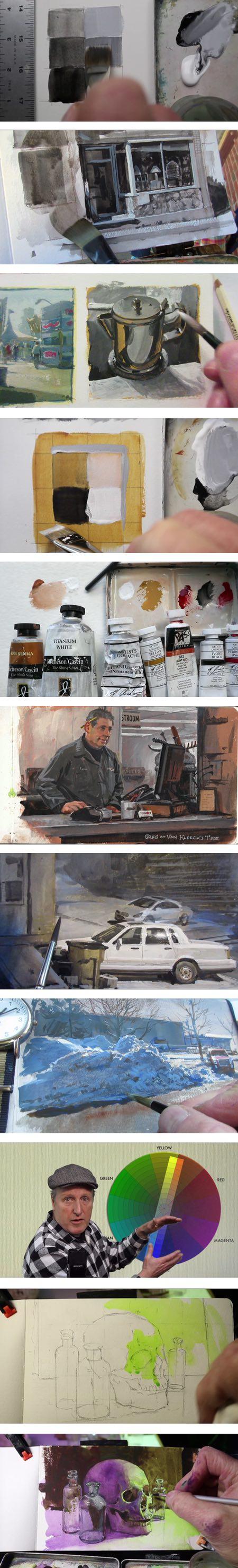 Captures d'écran de Color in Practice de James Gurney, partie 1, noir, blanc et compléments