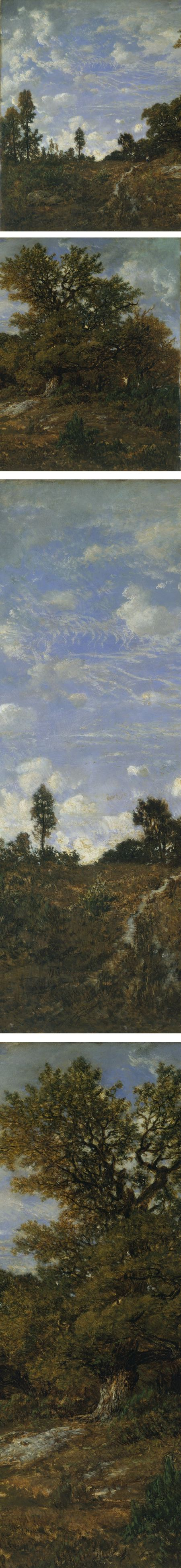 The Edge of the Woods at Monts-Girard, Fontainebleau Forest, Théodor Rousseau (details)