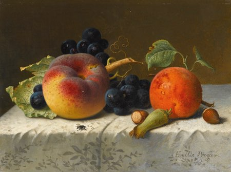 Still Life with Peach, Apricot, Grapes and Hazelnuts on a Tablecloth, Emelie Preyer
