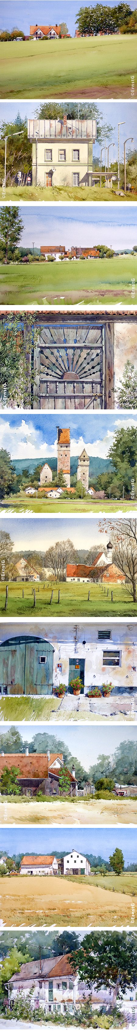 Ernst Grillhiesl watercolors