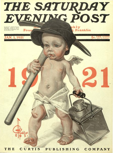 JC Leyendeckers Saturday Evening Post New Years Baby cover for 1921