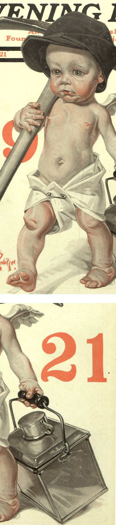 JC Leyendeckers Saturday Evening Post New Years Baby cover for 1921 (details)