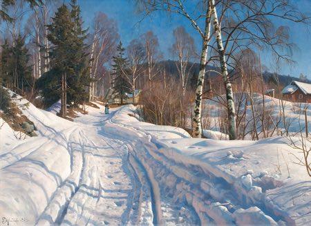 Sunlit Winter Landscape, Peder Mork Monsted