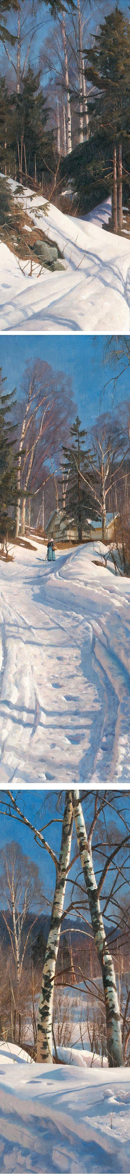 Sunlit Winter Landscape, Peder Mork Monsted (details)